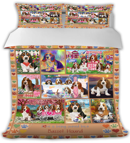 Love is Being Owned Basset Hound Dogs Beige Bed Duvet Cover DVTCVR50632