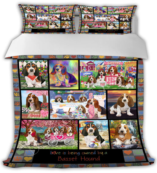 Love is Being Owned Basset Hound Dogs Grey Bed Comforter CMFTR50121