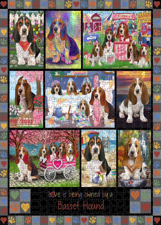 Love is Being Owned Basset Hound Dog Grey Puzzle with Photo Tin PUZL98224