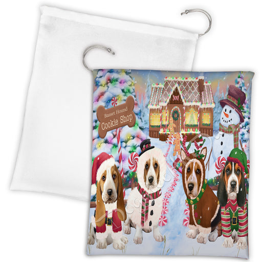 Holiday Gingerbread Cookie Basset Hound Dogs Shop Drawstring Laundry or Gift Bag LGB48566