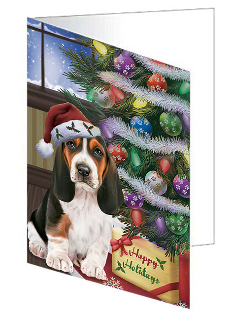 Christmas Happy Holidays Basset Hound Dog with Tree and Presents Note Card NCD65432