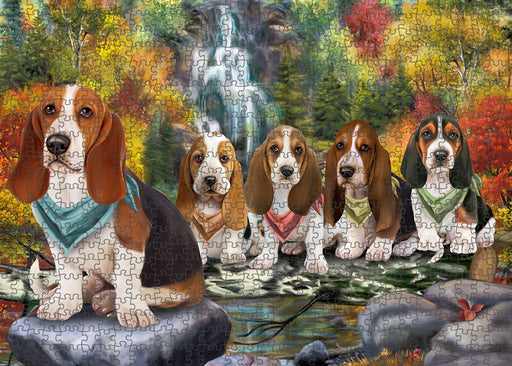 Scenic Waterfall Basset Hounds Dog Puzzle with Photo Tin PUZL59523