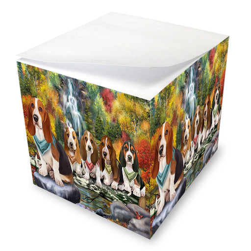 Scenic Waterfall Basset Hounds Dog Note Cube NOC51812