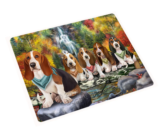 "Scenic Waterfall Basset Hounds Dog Magnet Mini (3.5"" x 2"") MAG59685"