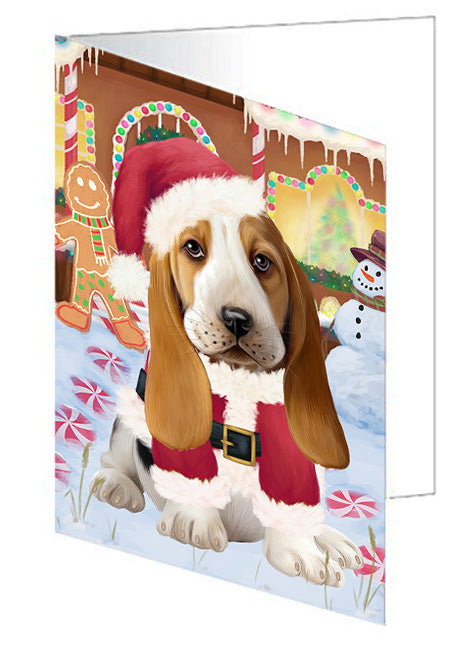 Christmas Gingerbread House Candyfest Basset Hound Dog Note Card NCD72998