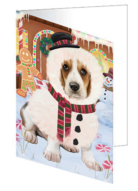 Christmas Gingerbread House Candyfest Basset Hound Dog Note Card NCD73001