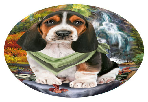 Scenic Waterfall Basset Hound Dog Oval Envelope Seals OVE63248