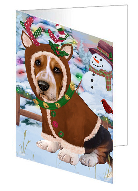 Christmas Gingerbread House Candyfest Basset Hound Dog Note Card NCD73004