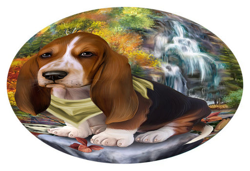 Scenic Waterfall Basset Hound Dog Oval Envelope Seals OVE63252