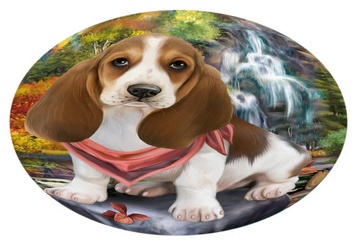 Scenic Waterfall Basset Hound Dog Oval Envelope Seals OVE63256