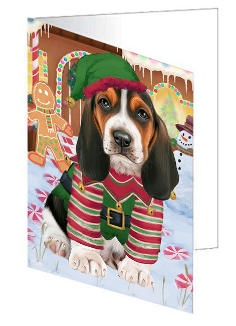 Christmas Gingerbread House Candyfest Basset Hound Dog Note Card NCD73007