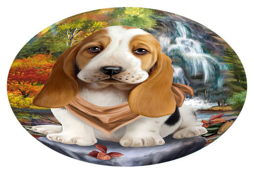 Scenic Waterfall Basset Hound Dog Oval Envelope Seals OVE63260