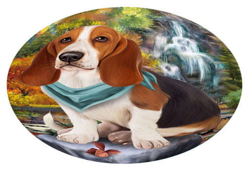 Scenic Waterfall Basset Hound Dog Oval Envelope Seals OVE63264