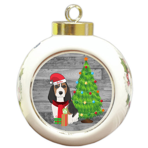 Custom Personalized Basset Hound Dog With Tree and Presents Christmas Round Ball Ornament