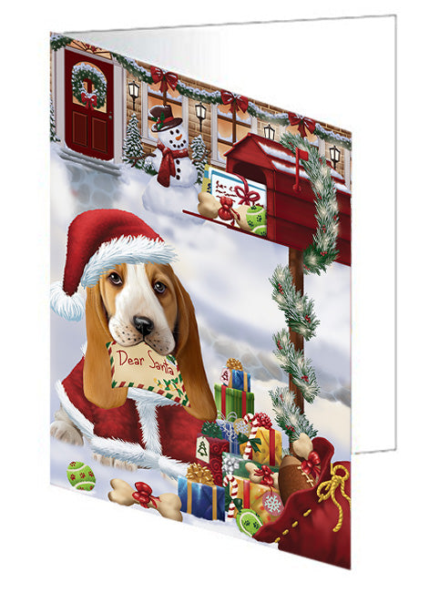 Basset Hound Dog Dear Santa Letter Christmas Holiday Mailbox Note Card NCD65642
