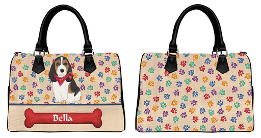 Custom PersonalizedRed Paw Print Basset Hound Dog Euramerican Tote Bag Basset Hound Dog Boston Handbag