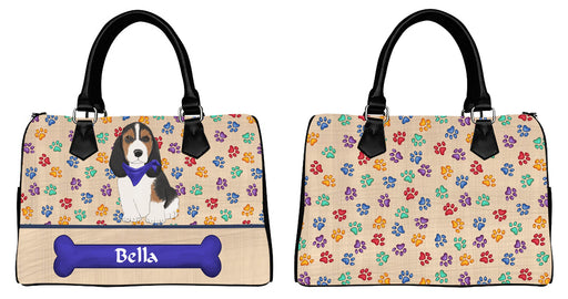 Custom Personalized Blue Paw Print Basset Hound Dog Euramerican Tote Bag Basset Hound Dog Boston Handbag