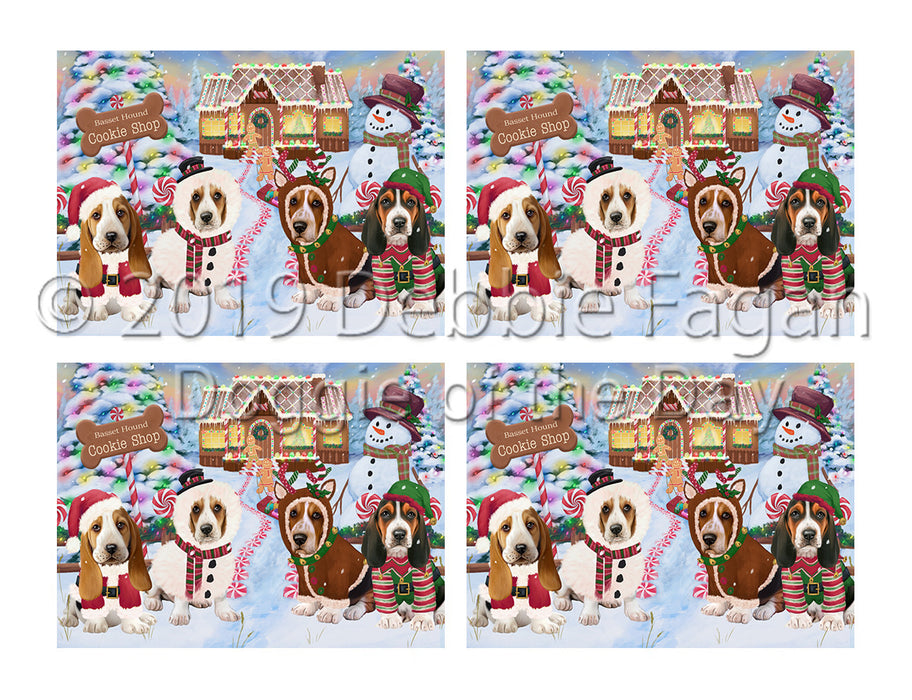 Holiday Gingerbread Cookie Basset Hound Dogs Placemat