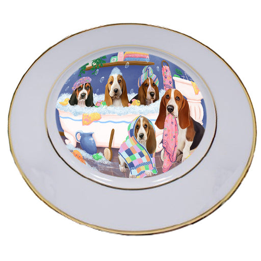 Rub A Dub Dogs In A Tub Basset Hounds Dog Porcelain Plate PLT55108