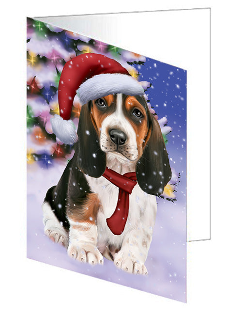 Winterland Wonderland Basset Hound Dog In Christmas Holiday Scenic Background  Note Card NCD64115