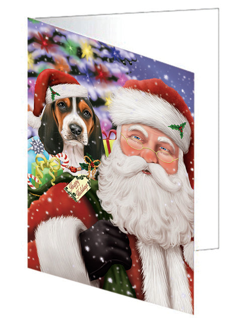 Santa Carrying Basset Hound Dog and Christmas Presents Note Card NCD65909