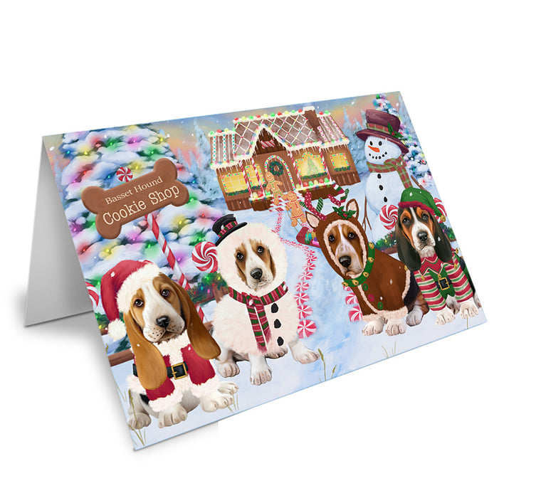 Holiday Gingerbread Cookie Shop Basset Hounds Dog Note Card NCD72818