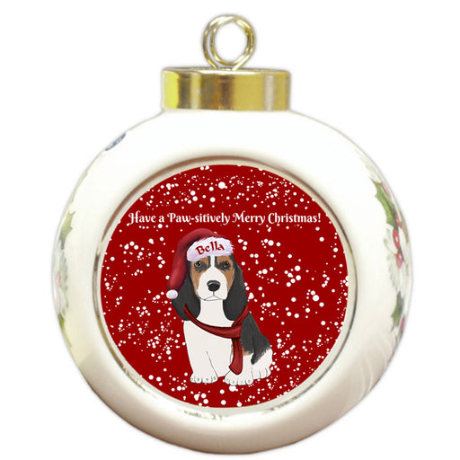 Custom Personalized Pawsitively Basset Hound Dog Merry Christmas Round Ball Ornament