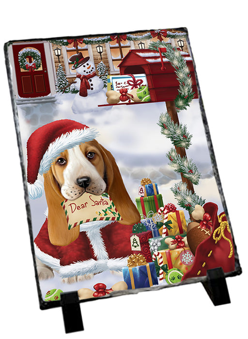 Basset Hound Dog Dear Santa Letter Christmas Holiday Mailbox Sitting Photo Slate SLT57488