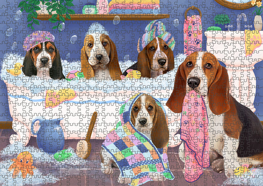 Rub A Dub Dogs In A Tub Basset Hounds Dog Puzzle with Photo Tin PUZL95236