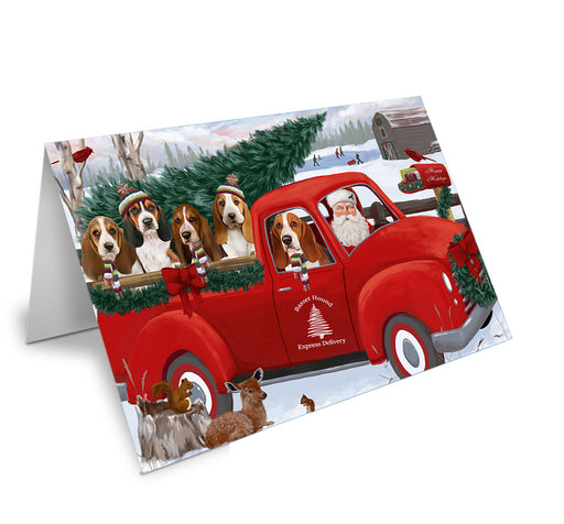 Christmas Santa Express Delivery Basset Hounds Dog Family Note Card NCD68849