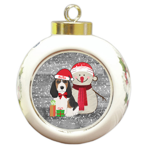 Custom Personalized Snowy Snowman and Basset Hound Dog Christmas Round Ball Ornament