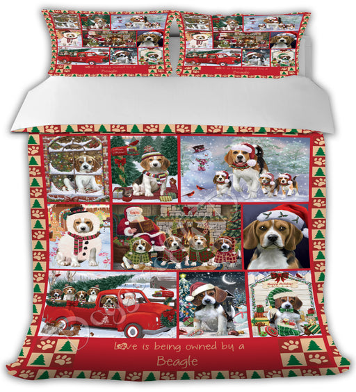 Love is Being Owned Christmas Beagle Dogs Bed Comforter CMFTR48763