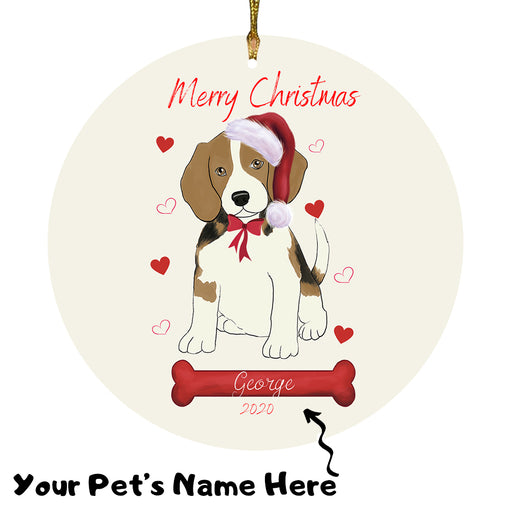Personalized Merry Christmas  Beagle Dog Christmas Tree Round Flat Ornament RBPOR58911