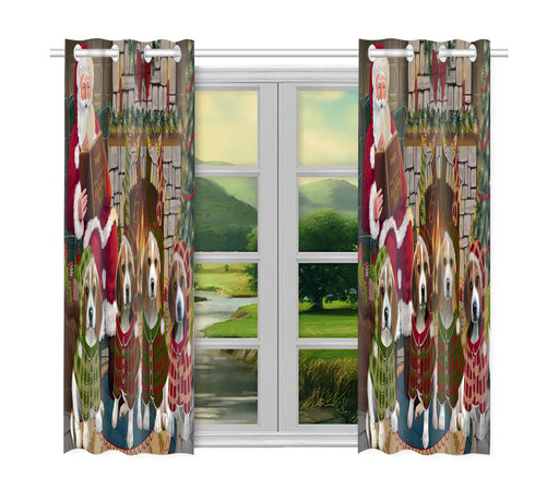 Christmas Cozy Holiday Fire Tails Beagle Dogs Window Curtain