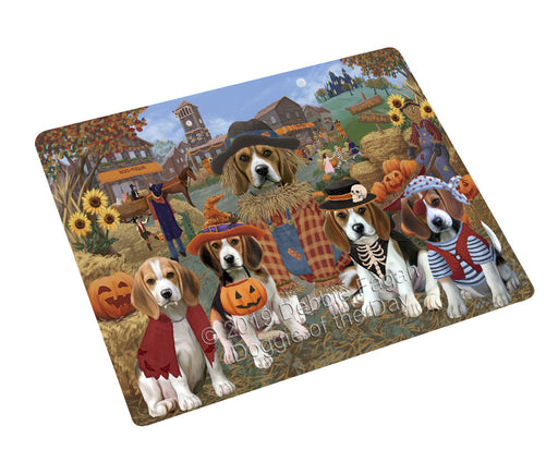 Halloween 'Round Town And Fall Pumpkin Scarecrow Both Beagle Dogs Cutting Board C77035
