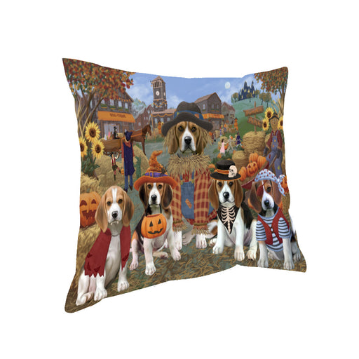 Halloween 'Round Town And Fall Pumpkin Scarecrow Both Beagle Dogs Pillow PIL82272