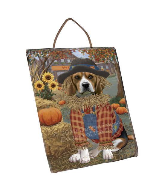 Halloween 'Round Town And Fall Pumpkin Scarecrow Both Beagle Dogs Wall Décor Hanging Photo Slate SLTH53233