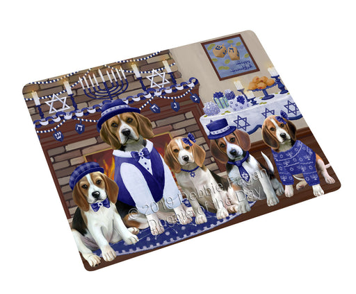 Happy Hanukkah Family and Happy Hanukkah Both Beagle Dogs Large Refrigerator / Dishwasher Magnet RMAG105306
