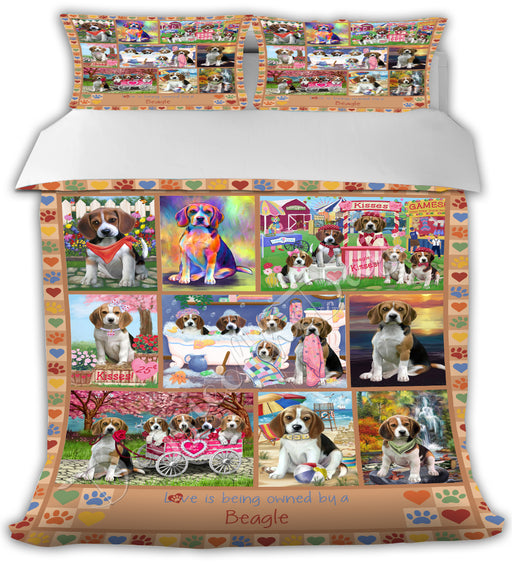 Love is Being Owned Beagle Dogs Beige Bed Comforter CMFTR50639
