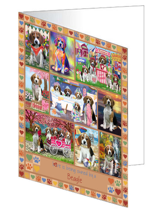 Love is Being Owned Beagle Dog Beige Greeting Card GCD77180
