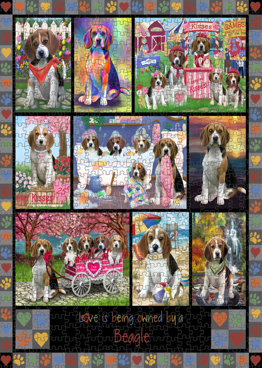 Love is Being Owned Beagle Dog Grey Puzzle with Photo Tin PUZL98232