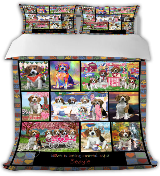 Love is Being Owned Beagle Dogs Grey Bed Comforter CMFTR50128