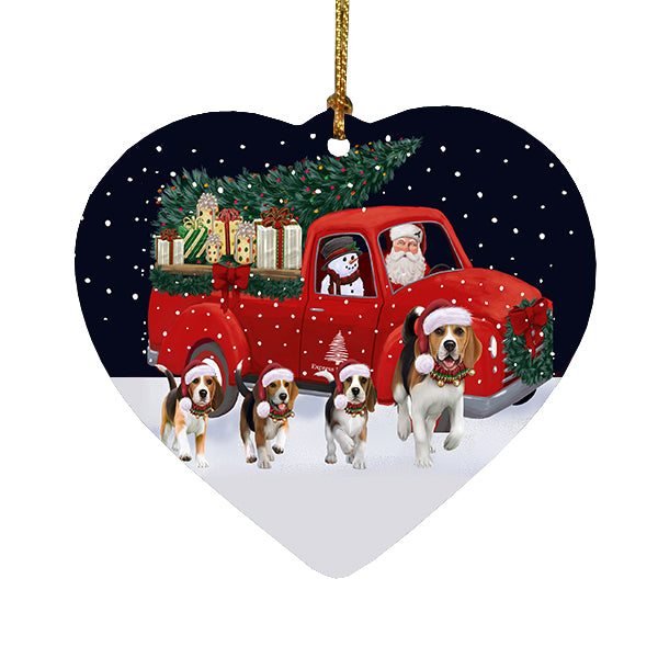Christmas Express Delivery Red Truck Running Beagle Dogs Heart Christmas Ornament RFPOR58066