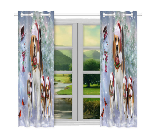 Christmas Running Fammily Beagle Dogs Window Curtain