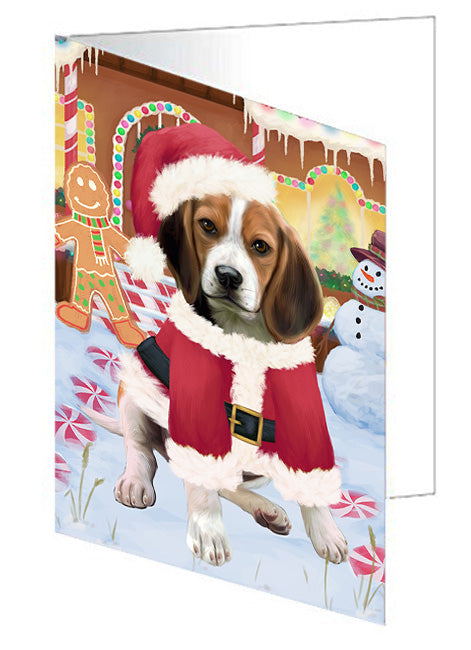 Christmas Gingerbread House Candyfest Beagle Dog Note Card NCD73010
