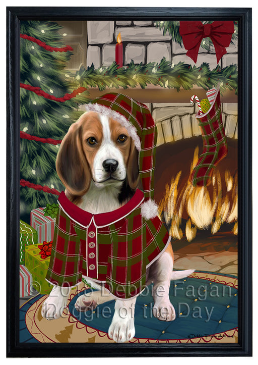 The Stocking was Hung Beagle Dog Framed Canvas Print Wall Art FCVS175313