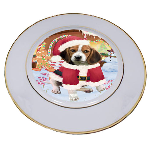 Christmas Gingerbread House Candyfest Beagle Dog Porcelain Plate PLT54514
