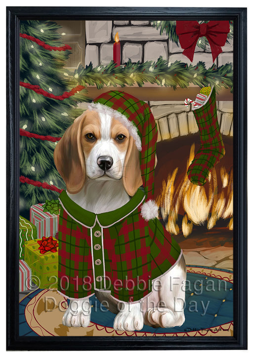 The Stocking was Hung Beagle Dog Framed Canvas Print Wall Art FCVS175330