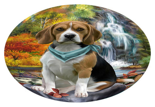 Scenic Waterfall Beagle Dog Oval Envelope Seals OVE63272