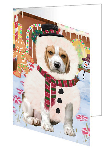 Christmas Gingerbread House Candyfest Beagle Dog Note Card NCD73013
